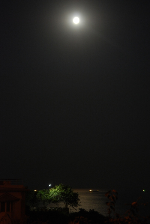 Moon lighting up the sea