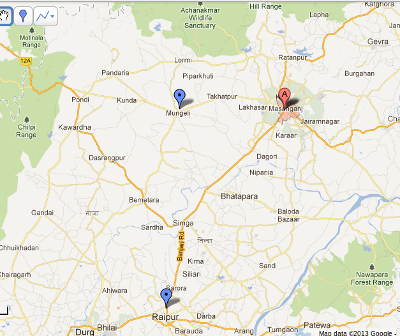 Mungeli is 100kms from the capital Raipur and 60kms from the second biggest city, Bilaspur