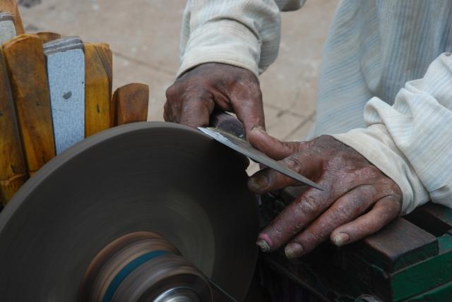Blade on sharpening stone