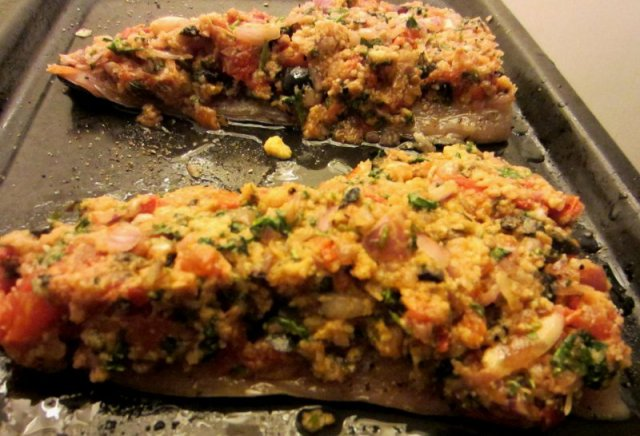 Fish fillets topped with 'caponata' mix