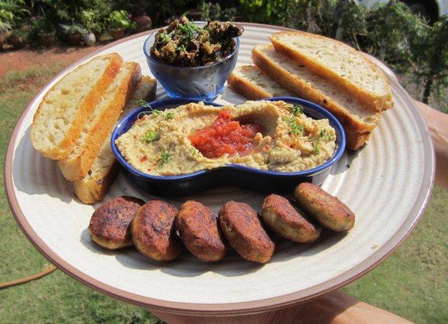 Homous with danger chutney, garlic aubergines and chicken hariyali kebabs with crusty ciabatta bread