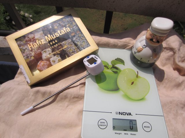 Kitchen goodies: digital weighing scale, Swedish chef timer and meat thermometer...and Turkish Delight