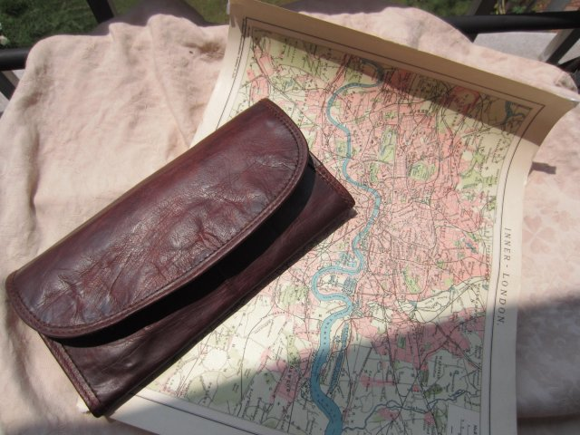 Camel leather wallet and old inner london map