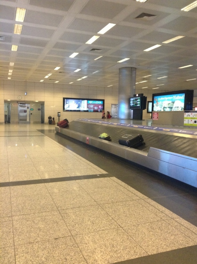 Empty baggage claim for flight from Mumbai to Istanbul