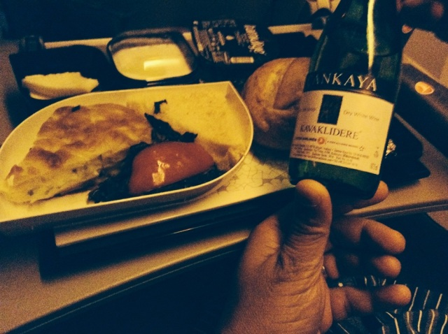 Turkish airlines meal: wine, borek, cheese, olives
