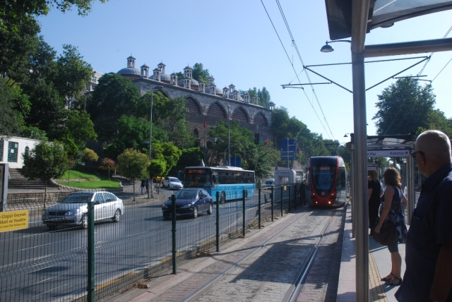Tram at Tophane with Tophane-i Amire Kultur ve Sanat Merkezi in background, a 15th century cannon foundry now arts centre