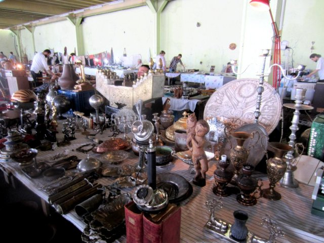 Variety of antiques and bric-a-brac