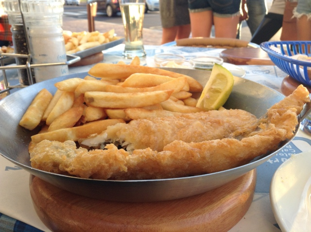Fish and Chips at Ocean Basket on Camps Bay