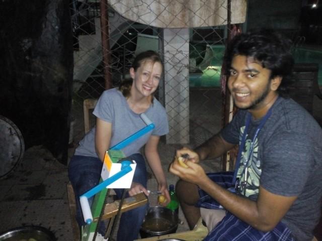 Sarah and Vix on potato peeling duty